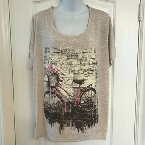 NWOT Style & Co 3X French bicycle graphic top